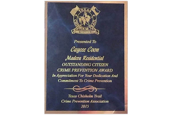 Madera Residential Outstanding Citizen Crime Prevention Award photo 3