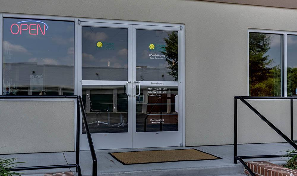 Self Storage Entrance at Happy Boxes Self Storage in Richmond