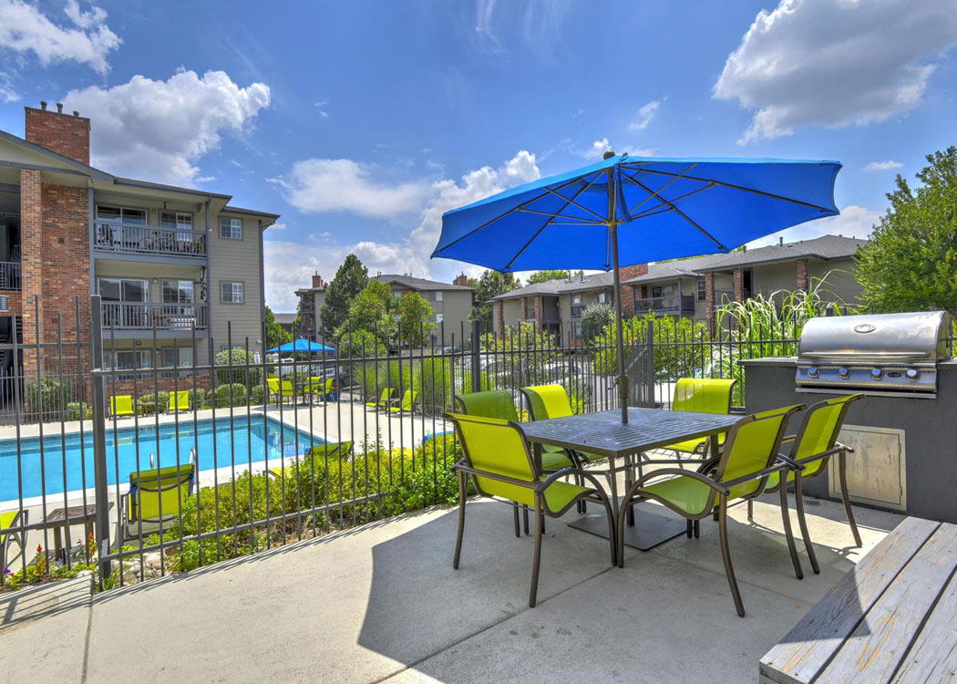 Pool patio at Arapahoe Club Apartments