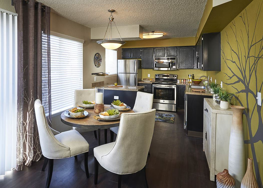 Kitchen and Dining room at Arapahoe Club Apartments