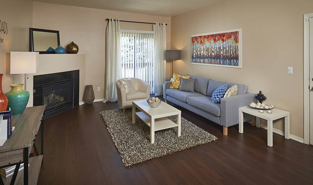 Living Room at Crossroads at City Center Apartments