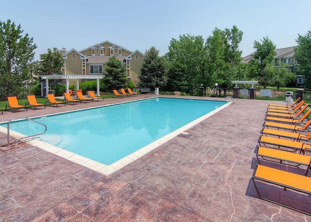Pool area at Legend Oaks Apartments