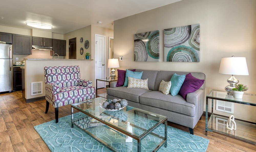 Spacious living room at Pebble Cove Apartments in Renton