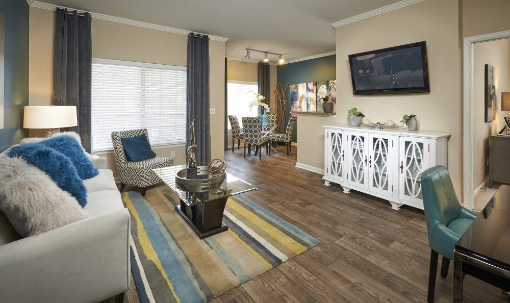 Spacious living room at Skyecrest Apartments