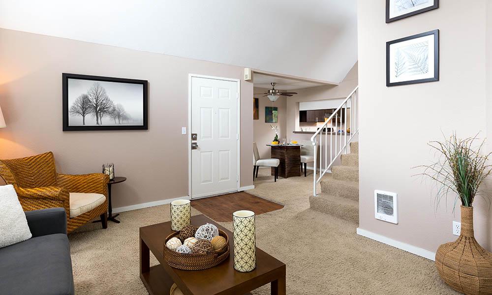 Living room at Meadows at Cascade Park Apartments