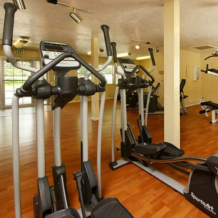 Fitness center at Callaway Apartments in Taylorsville