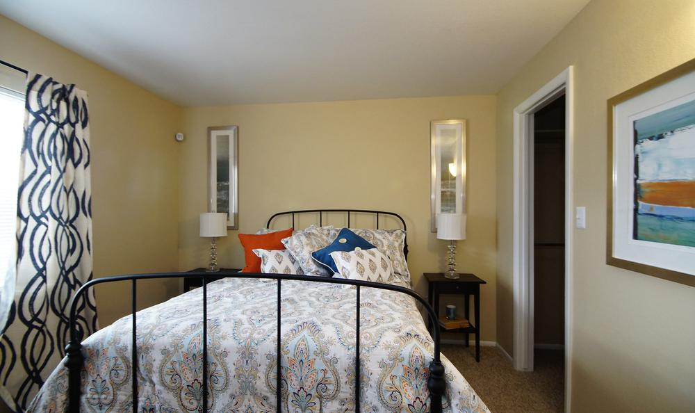 Comfy bedroom at Callaway Apartments in Taylorsville, UT