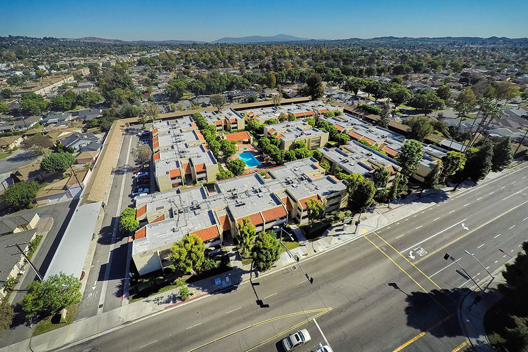 Aerial view of Kendallwood Apartments in Whittier