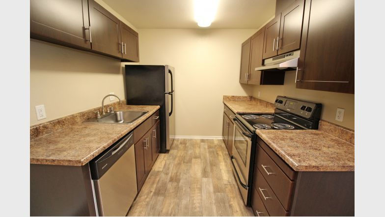 The Woodlands Apartments Renovated Kitchen, stainless steel appliances