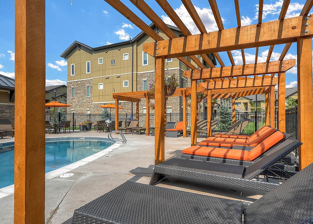 Pool deck at M2 Apartments