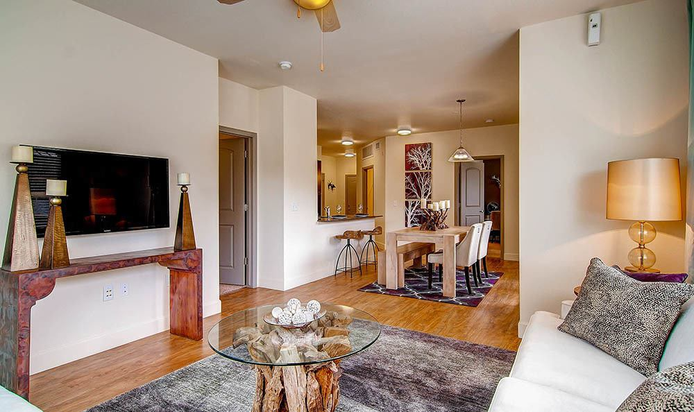 Living Room at M2 Apartments in Denver, CO