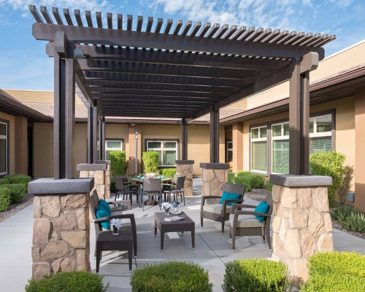 Patio deck at Chandler Memory Care