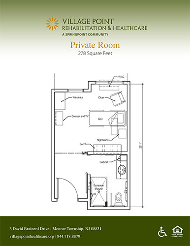 Private room floor plan at Village Point Rehabilitation & Healthcare