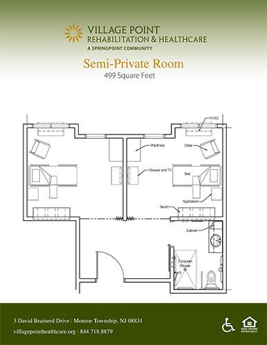 Semi-private room floor plan at Village Point Rehabilitation & Healthcare