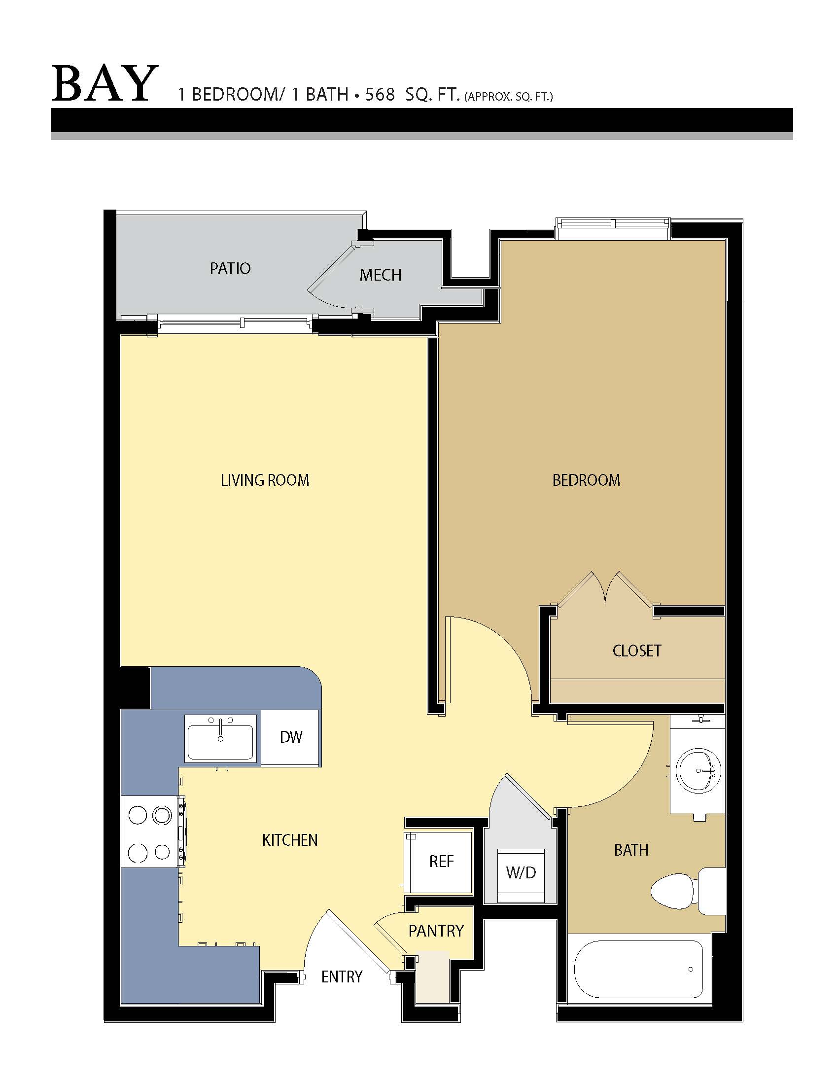 Bay floor plan - 1 Bed / 1 Bath (568 Sq Ft)