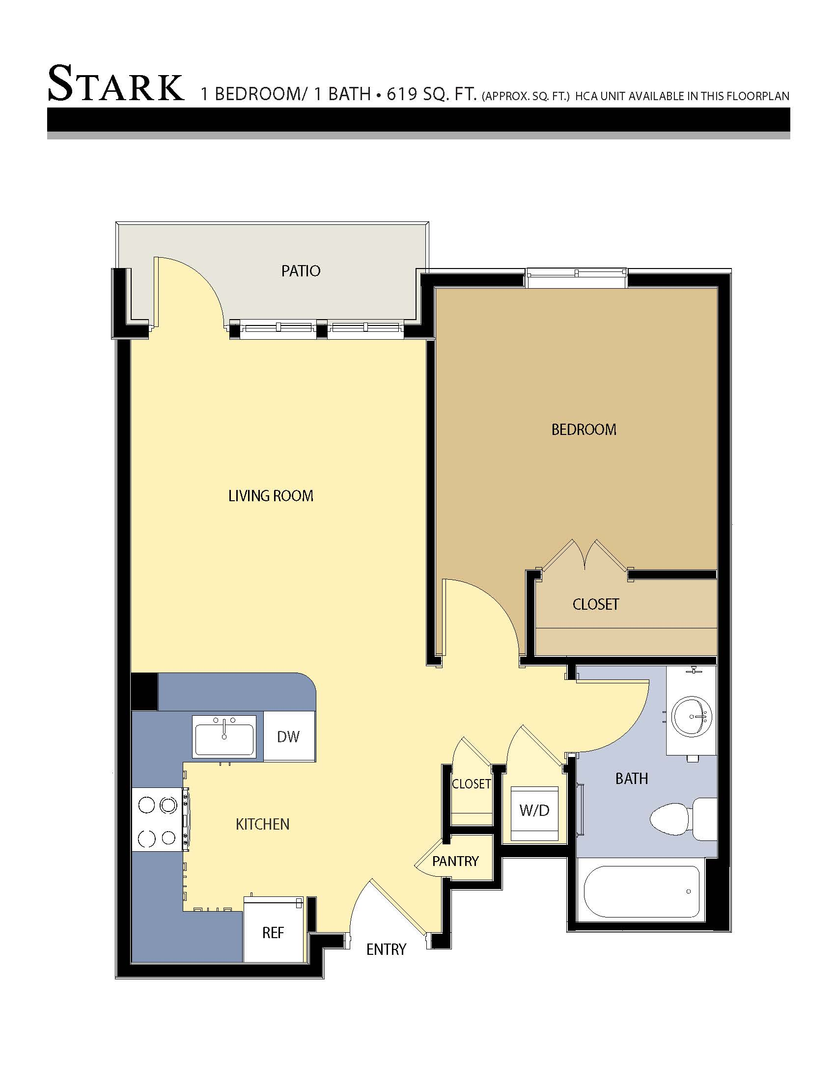 Stark floor plan - 1 Bed / 1 Bath (619 Sq Ft)