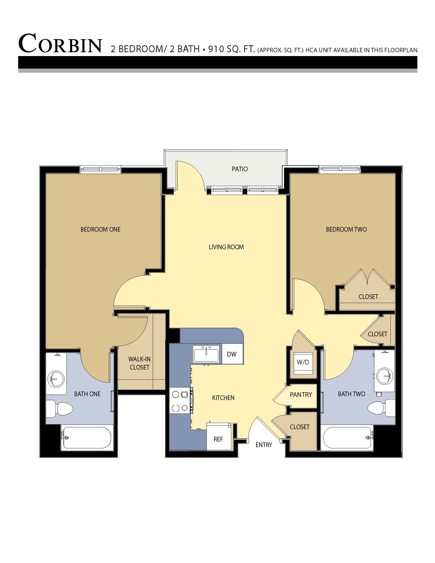 CORBIN floor plan - 2 Bed / 2 Bath (910 Sq Ft)