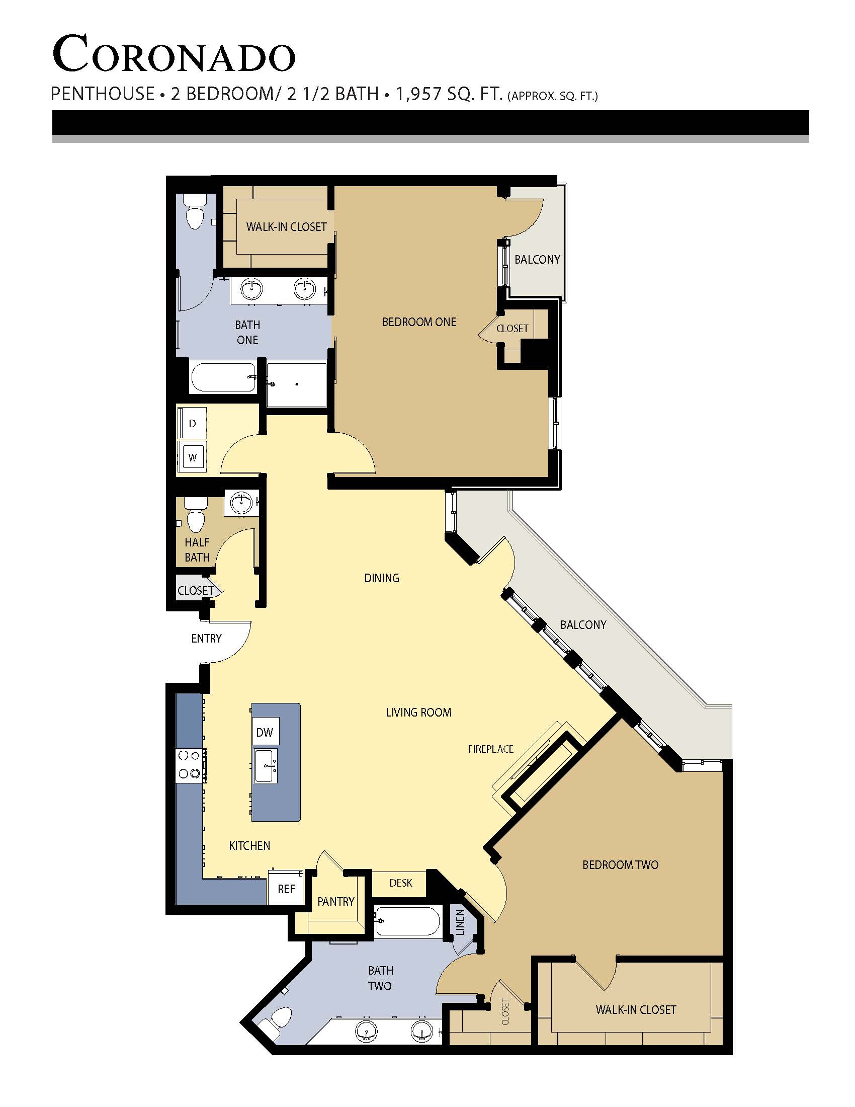 Coronado floor plan - 2 Bed / 2.5 Bath (1,957 Sq Ft)