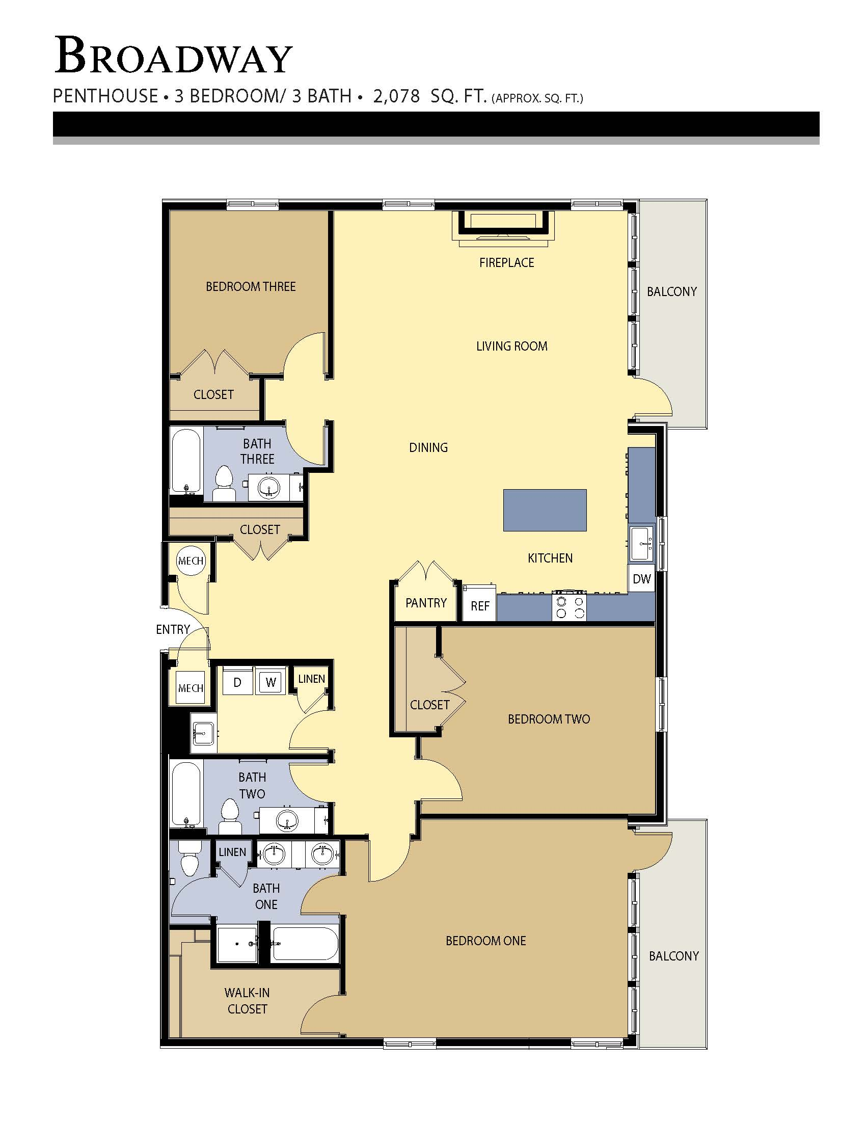 Broadway floor plan - 3 Bed / 3 Bath (2,078 Sq Ft)