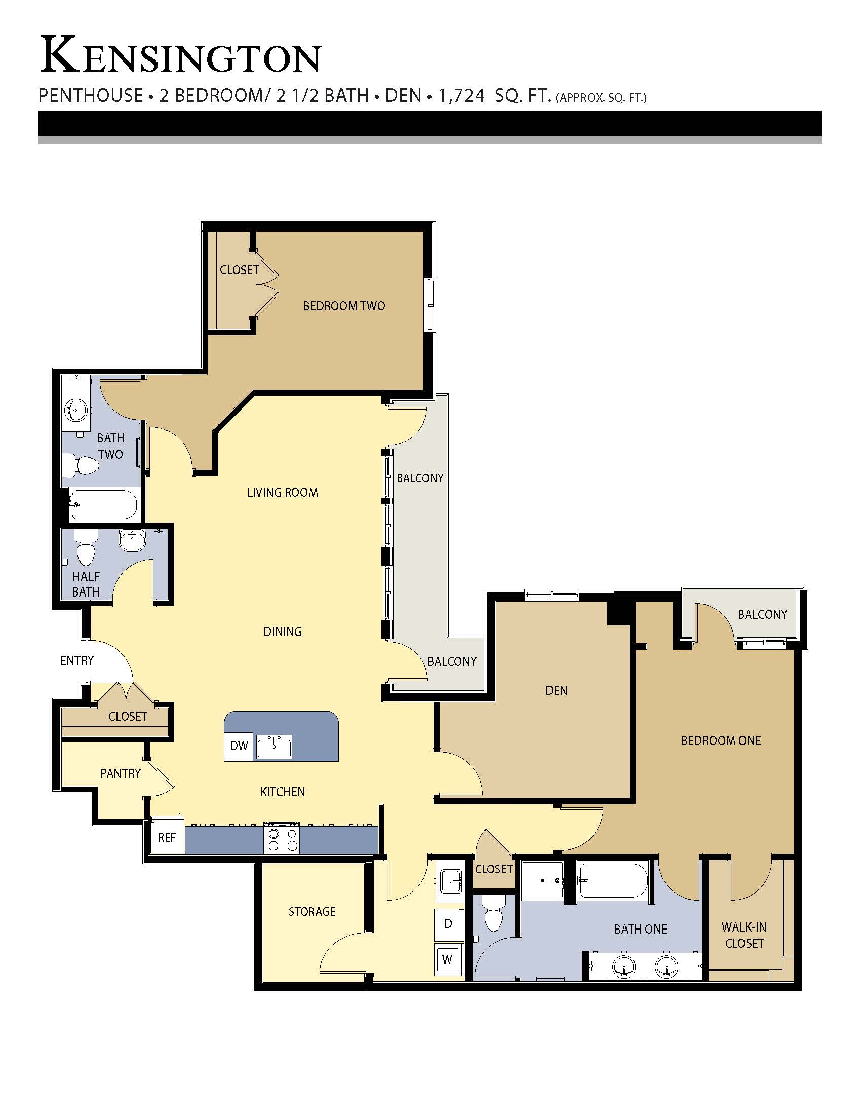 kensington floor plan - 2 Bed w/ Den / 2.5 Bath (1,724 Sq Ft)
