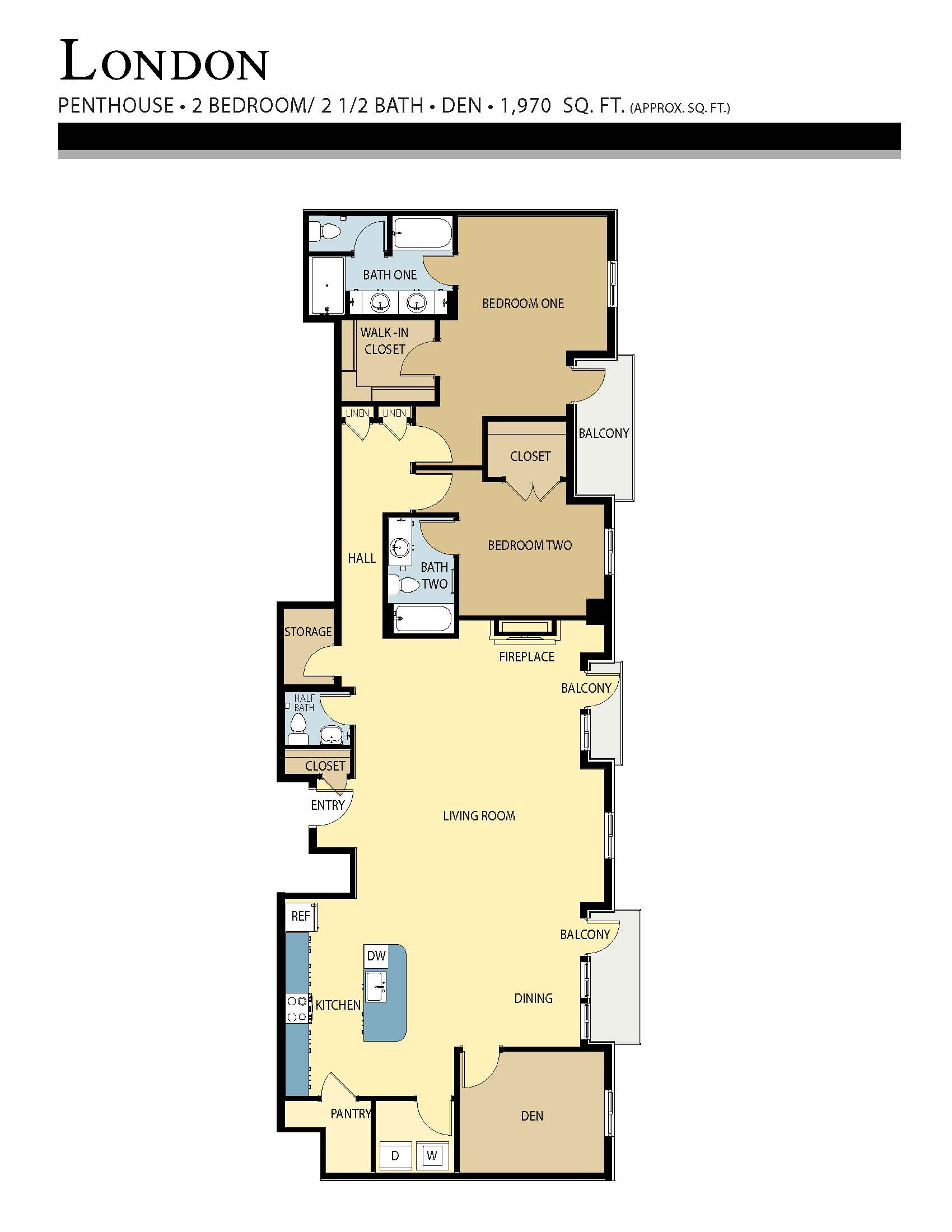 London floor plan - 2 Bed w/ Den / 2.5 Bath (1,970 Sq Ft)