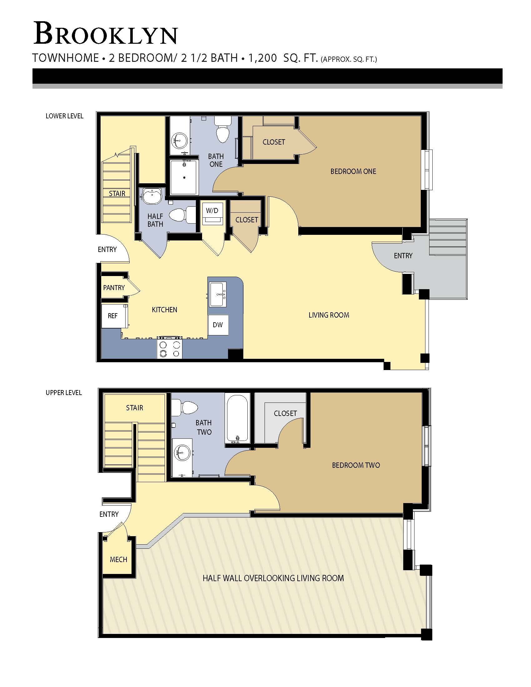 Brooklyn floor plan - 2 Bed / 2.5 Bath (1,200 Sq Ft)