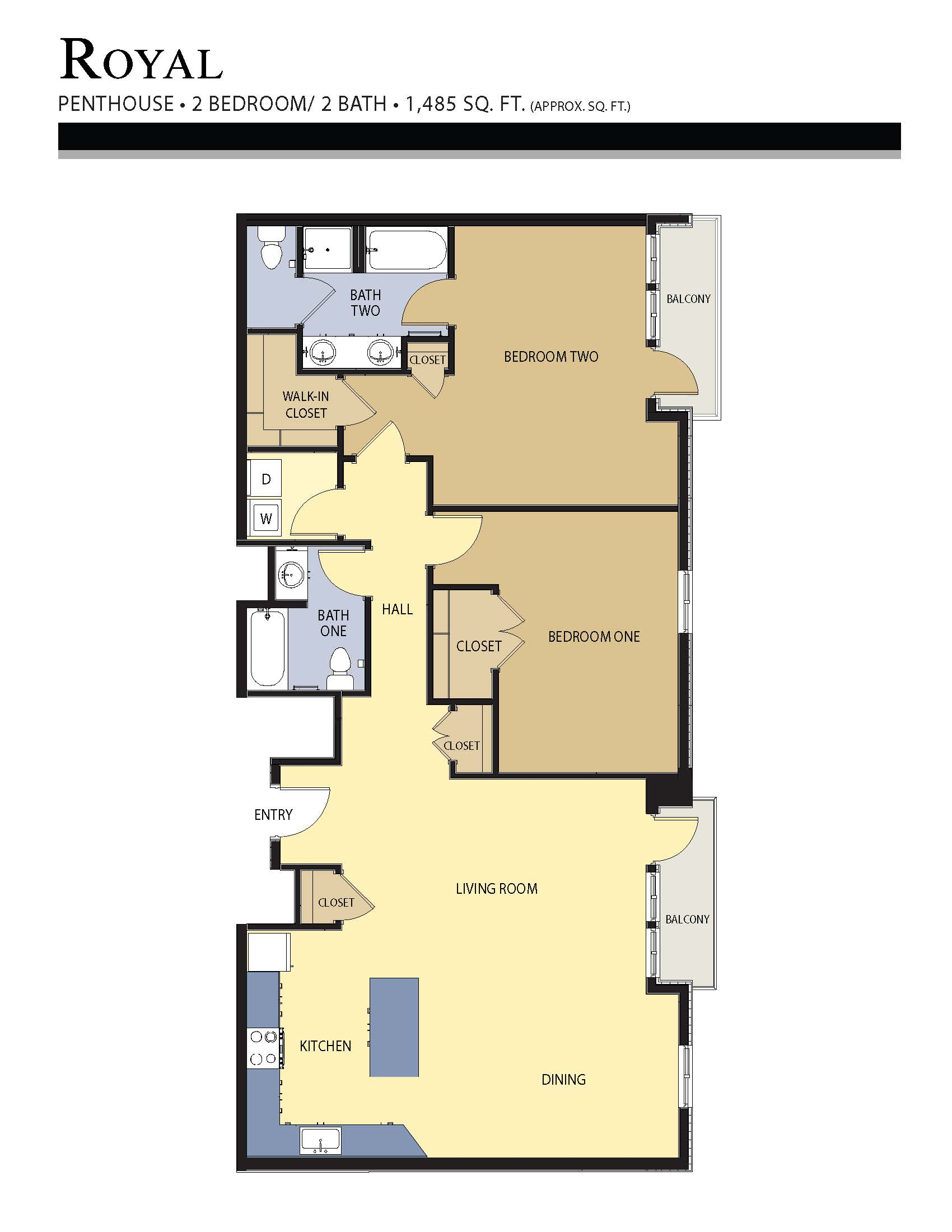 Royal floor plan - 2 Bed / 2 Bath (1,485 Sq Ft)