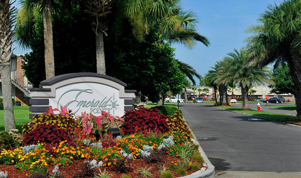 Street Side Sign At Emerald Pointe Apartment Homes