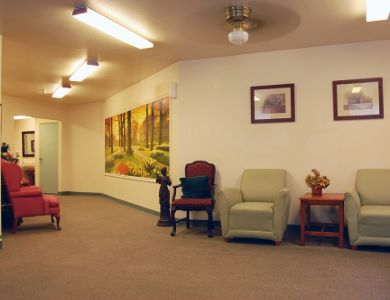 Spacious living room at Valley Crest Memory Care in Apple Valley, CA