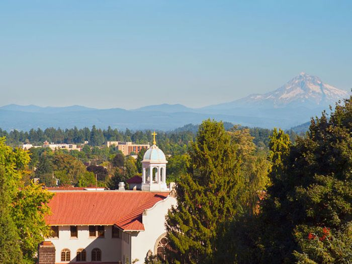 view of mountains and our senior living facility at St. Andrews Memory Care in Portland, OR