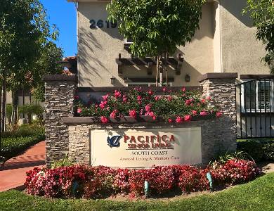 Main sign view of Pacifica Senior Living South Coast