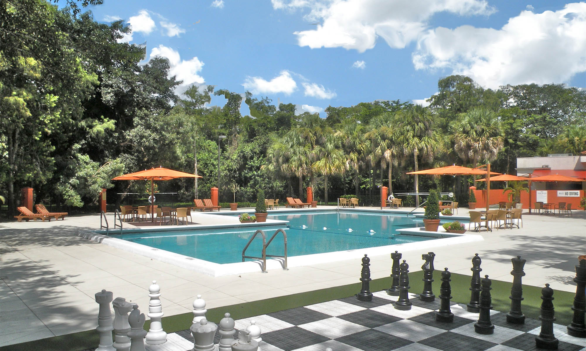 Beautiful pool at Pacifica Senior Living Forest Trace in Lauderhill