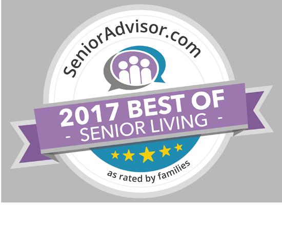 2017 Best of Senior Living Award for Pacifica Senior Living Paradise Valley