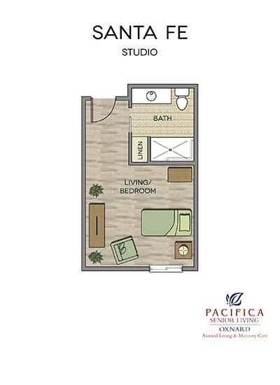 Santa Fe floor plan at Pacifica Senior Living Oxnard in Oxnard, CA