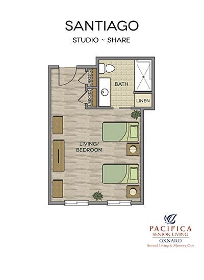 Santiago floor plan at Pacifica Senior Living Oxnard in Oxnard, CA