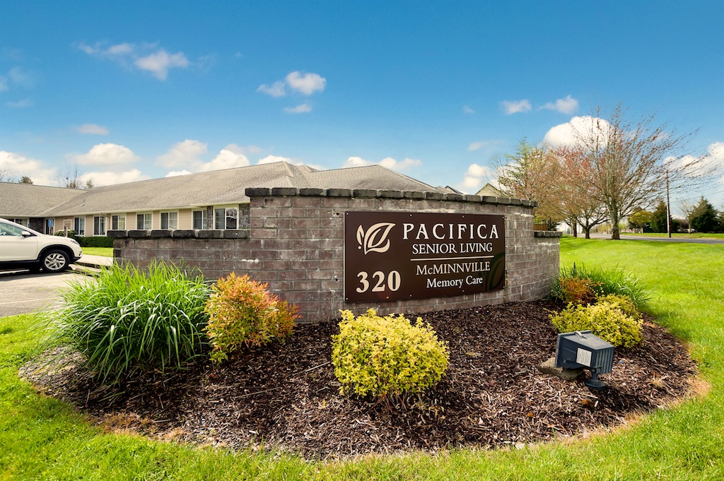 Entrance sign to our memory care facility at Pacifica Senior Living McMinnville