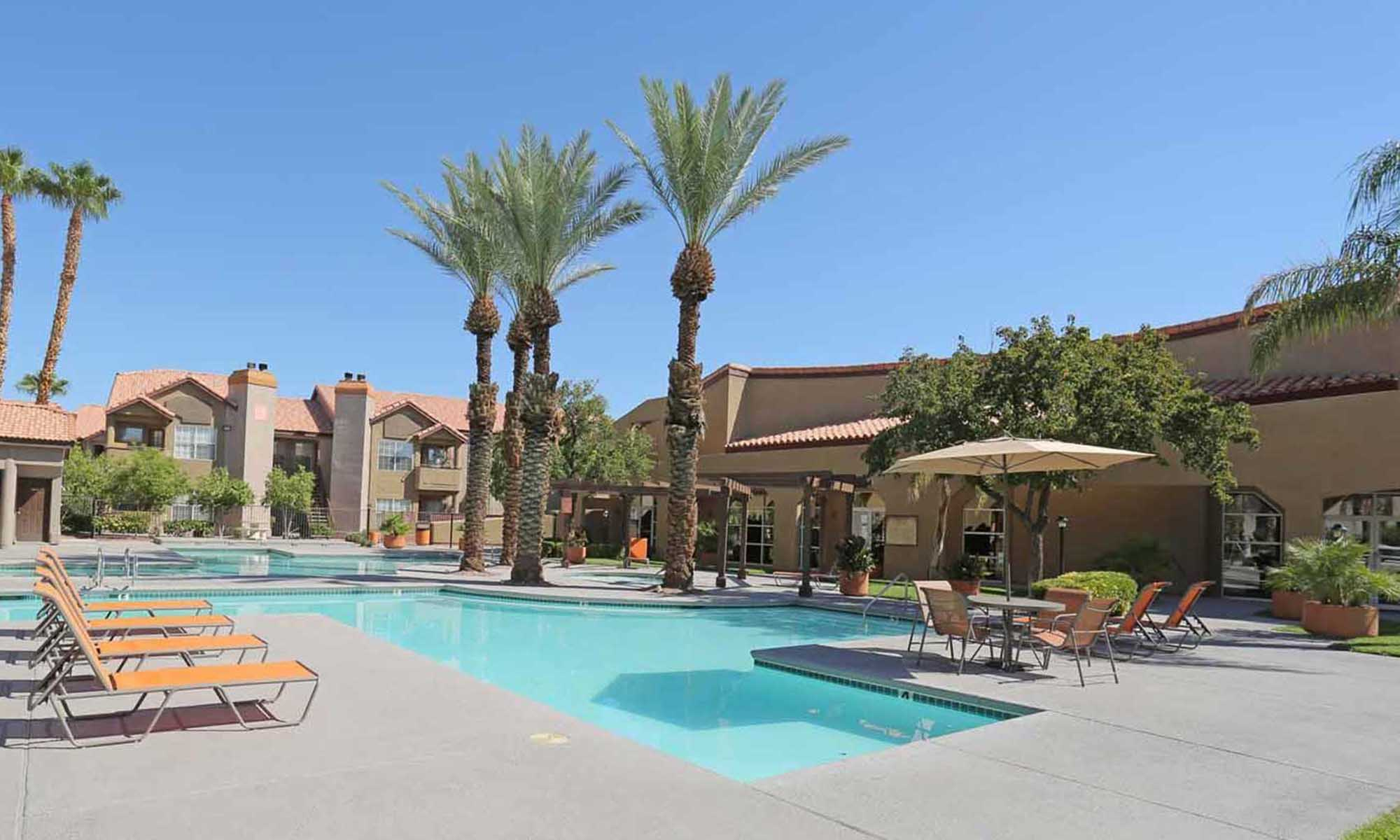 View of the Entrata Di Paradiso swimming pool area in Las Vegas
