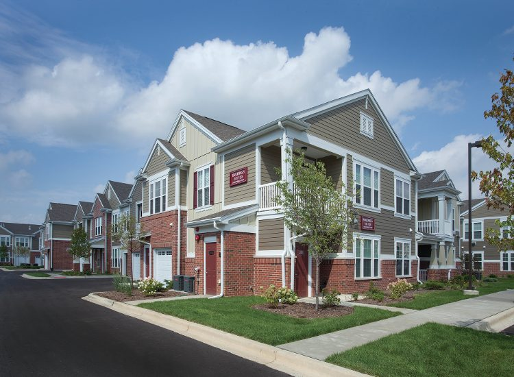 Exterior of apartment building at Springs at Liberty Township Apartments in Liberty Township