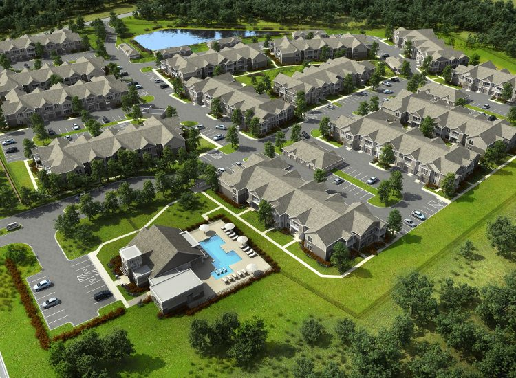 Aerial view of Springs at Laurens Road community in Greenville