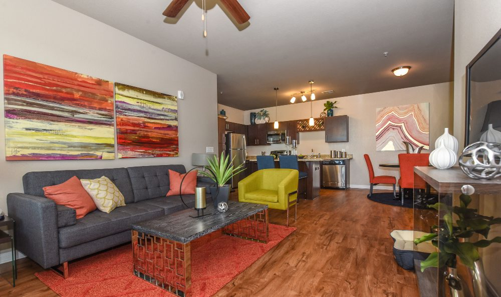 Well decorated living room at Springs at Laurens Road in Greenville