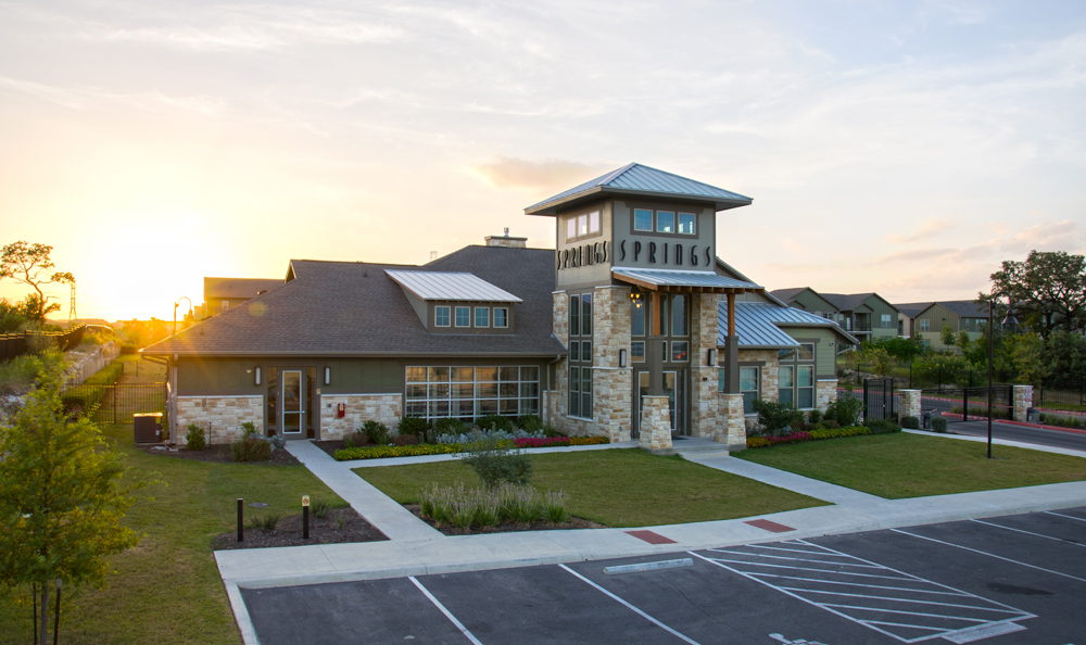 clubhouse exterior view at Springs at May Lakes in Oklahoma City, OK