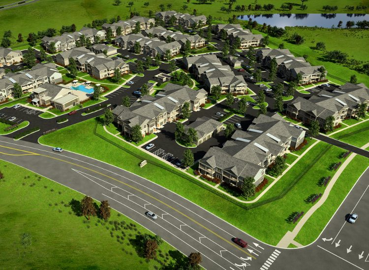 Aerial view of community at Springs at Allison Valley in Colorado Springs, CO