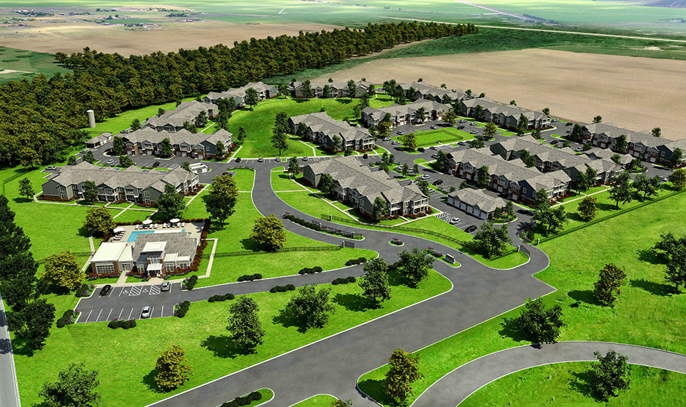 Aerial Rendering Of Springs at Canterfield In West Dundee