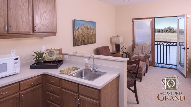 Beautiful assisted living kitchen at Oxford at NewMarket