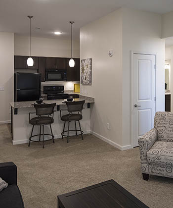 Cozy floor plan at Oxford Villa Active Senior Apartments