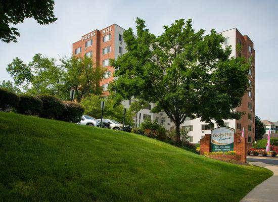 Pooks Hill Tower and Court exterior view of the community in Bethesda
