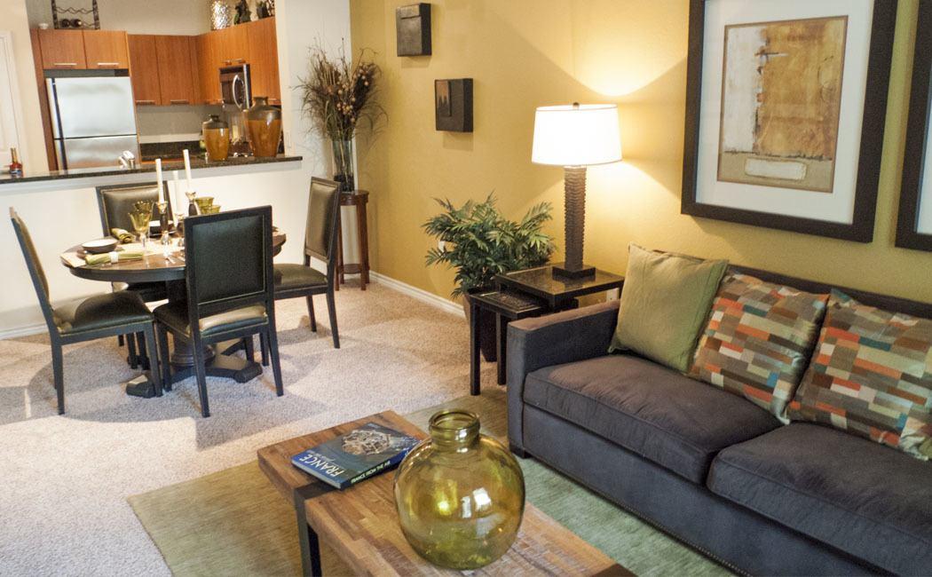 Living room at Elan At Bluffview Apartments