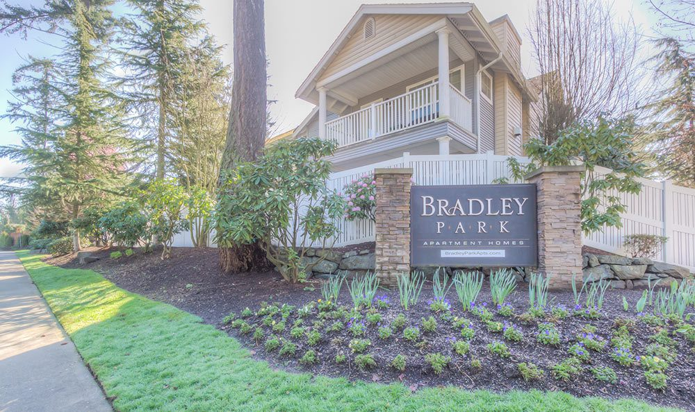 Our sign at Bradley Park Apartments in Puyallup