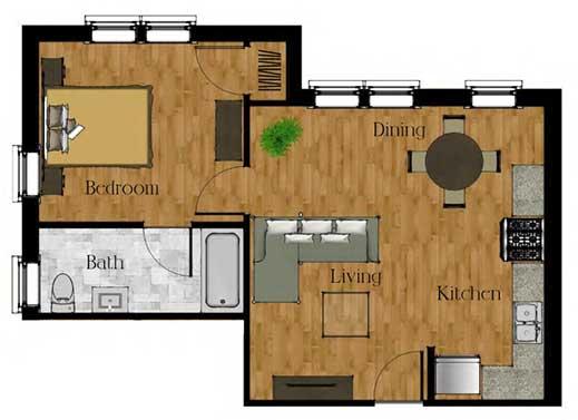 One Bedroom w/Basement