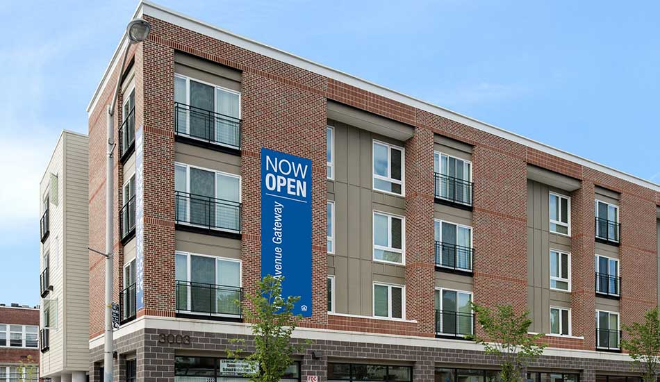 Exterior of North Avenue Gateway with banner
